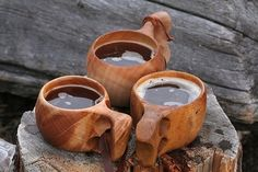 Guksi (Kuksa) (handmade camping cup). Invented by Sami people of northern Scandinavia. Very useful cup, you will never have to wash it with soap, only with water. Washing only with water keeps it clean because it is specially made.