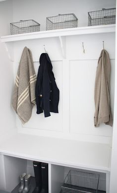 Maybe we should convert our closet into a mudroom? Closet Converted Mudroom - Coordinately Yours, by Julie Blanner Entry Closet, Hall Closet, Closet Mudroom, Closet Space, Mudroom Cubbies, Garage Closet, Front Closet, Vestibule, Entryway Organization