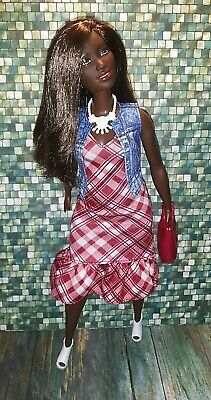 CURVY Fashionista Barbie  RED /& WHITE PLAID dress