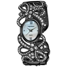 Vernier Women's VNR1114 Gun-Metal Ribbon Pattern with Crystal S-Tones Quartz Bangle Watch Vernier. $26.00. Bangle's design is in the shape of ribbons intertwining with genuine crystal stones. Japanese-quartz movement. Durable mineral crystal protects watch from scratches,. Case diameter: 22 mm. Water-resistant to 10 M (33 feet). Save 60%!
