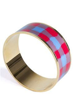 Wide bangle featuring a multicolor plaid pattern. #Marcbymarcjacobs