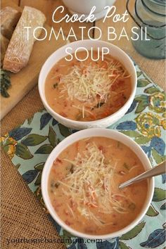 Crock Pot Tomato Basil Soup - use Greek yogurt & olive oil instead of butter; replace the 2 c. of half and half with 1 c. almond milk and 1 c. Greek yogurt. Great with garlic bread!