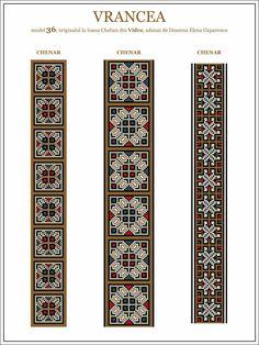 Semne Cusute: ie din MOLDOVA, Vrancea, Vidra Cross Stitch Borders, Cross Stitch Designs, Cross Stitching, Cross Stitch Patterns, Folk Embroidery, Embroidery Patterns, Palestinian Embroidery, Brick Stitch, Beading Patterns