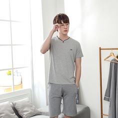 XMS 2018 Summer Autumn Mens Pajamas Set Short Sleeve Casual T Shirt Sleep Pants Two Piece Set Man Bamboo Home Clothes 3XL. Yesterday's price: US $40.99 (33.73 EUR). Today's price: US $19.68 (16.16 EUR). Discount: 52%.