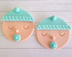 Items similar to Baby Boy Shower Cupcake Fondant Edible Toppers, Gender Reveal Party, Baby Shower Decor, Birthday Party, Baby Face Edible Toppers on Etsy Baby Boy Shower Cupcake Fondant Toppers Gender by LenasCakes Fondant Cupcakes, Baby Boy Cupcakes, Cupcakes For Boys, Fondant Baby, Fondant Toppers, Fun Cupcakes, Cake Baby, Baby Doll Cake, Gateau Baby Shower