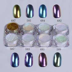 Chrome Nail Powder 8 Piece Set