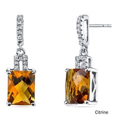 Oravo 14k White Gold Radiant Checkerboard Cut Gemstone Earrings (4 carat Citrine), Women's, Size: Small, Yellow