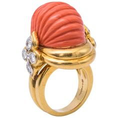 1960s Erwin Pearl Natural Coral Gold Ring | From a unique collection of vintage cocktail rings at https://www.1stdibs.com/jewelry/rings/cocktail-rings/