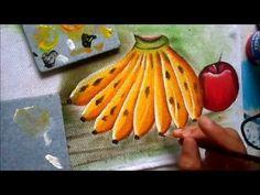 Pintura em tecido. Aprenda pintar bananas e figo aberto. - YouTube
