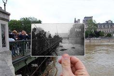 Paris : le comparatif des crues 1910 et 2016 en photos ! Mises côte à côte, les photos de la crue de 2016 et celles des inondations de 1910 nous font réaliser à quel point Paris était proche du trop plein !