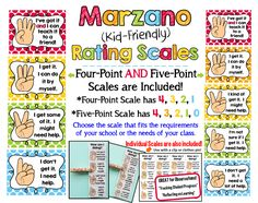 Marzano Kid-Friendly Scales!  Choose from a four-point scale (4-1) or a five-point scale (4-0) - both are included.  Also includes individual students scales!