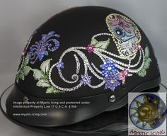 cdfa080ed97 Mystic Icing presents a custom-made-to-order Sugar Skull helmet. This  helmet is a flat black DOT
