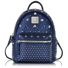 MCM Handbags Stark Special Metallic Navy Leather X-Mini Backpack (15.903.260 IDR) ❤ liked on Polyvore
