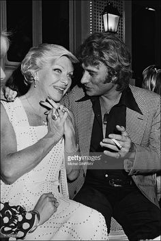 Johnny Hallyday and Line Renaud at the 34th birthday of Johnny Hallyday in France on June 15th, 1977.