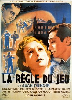 poster La Règle du jeu, directed by Jean Renoir,  1939 - featuring Nora Gregor, Paulette Dubost, Mila Parely - watched 27 July 2015