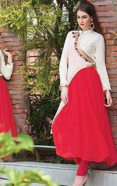 Smashing Red and Off White Ready Made Salwar Kameez