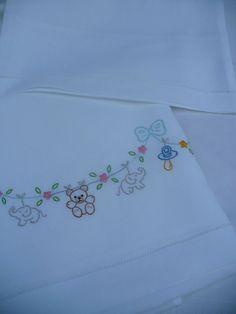 Resultado de imagem para ricamo a mano Ribbon Embroidery, Embroidery Designs, Baby Embroidery, Cross Stitch Embroidery, Baby Applique, Applique Quilts, Baby Sheets, Baby Bedding Sets, Embroidered Pillowcases