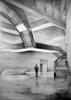 Architect Zaha Hadid, MAXXI - national museum of XXI century art, Rome, drawing by Klara Ostaniewicz  