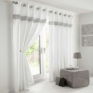 Shop for White & Silver Diamante Lined Curtains With Eyelet Ring Top 46 X Starting from Compare live & historic home furniture and decor prices. White Eyelet Curtains, Silver Curtains, Black Curtains, White Bed Sheets, White Bedding, White Bedroom, Bed Drapes, Lined Curtains, Curtains Living