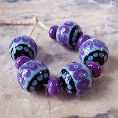 Handmade Lampwork Glass Bead Set (11 pcs) Ethnic Style Black Purple Turquoise  16mm & 9x6mm 'NATALIA KOROLYUK' Etsy<3<3<3AWESOME<3<3<3