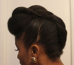 50 cute updos for natural hair French roll updo for medium natural hair Pelo Natural, Natural Hair Updo, Natural Hair Styles, Medium Natural Hair, Hair Medium, Medium Long, Faux Hawk Updo, Classy Updo, Elegant Updo