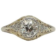 Preowned Edwardian 1.13 Carat Diamond Gold Platinum Floral Engagement... ($7,995) ❤ liked on Polyvore featuring jewelry, rings, multiple, floral engagement rings, filigree engagement ring, 18k gold ring, platinum diamond rings and platinum engagement rings