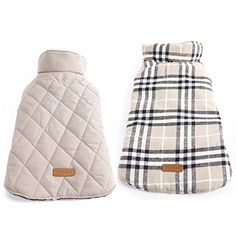 Kuoser Cozy Waterproof Windproof Reversible British style Plaid Dog Vest Winter Coat Warm Dog Apparel for Cold Weather Dog Jacket for Small Medium Large dogs with Furry Collar (XS - 3XL ),Beige S ** Check out the image by visiting the link.