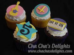 Fresh Beat Band/rock star cupcakes. Handmade fondant toppers
