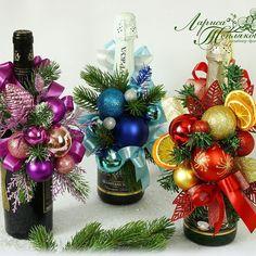 Новогодние подвески на бутылочки!легко снимаются и хранятся годами!#новогодняякомпозиция#подарок#подаркинановыйгод#презенткпразднику #оформлениебутылкишампанского #