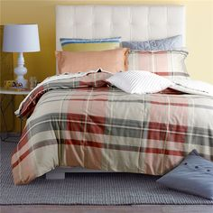 Roman Stripes And Plaids Orange Bedding Set Teen Bedding Dorm Bedding Bedding Collection Gift Idea Teen Bedding, Modern Bedding, Pillow Shams, Pillows, Orange Bedding, Rounded Rectangle, Flat Sheets, Floral Style, Bedding Collections