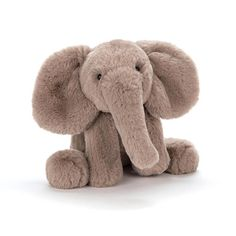 Soft toys from Jellycat never fail to delight, and with good reason too. Made from super soft plush and featuring a friendly face, the Jellycat Smudge Elephant is impossible to resist! Its warm grey fur makes it the softest Elly in town, so little ones wi Elephant Stuffed Animal, Cute Stuffed Animals, Elephant Love, Little Elephant, Jellycat, Der Arm, Baby Toys, Kids Toys, Smudging