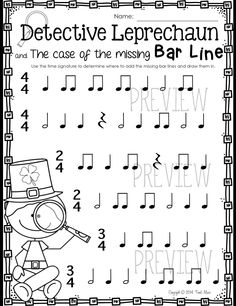 Detective Leprechaun! Draw in the missing bar lines:) $