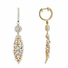 Unique Diamond Dangle Earrings In 18K Rose Gold | Your #1 Source for Jewelry and Accessories