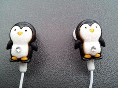 Penguin earbuds with glitter and a swarovski by HoneyBadgerBuds (Too Cute!)