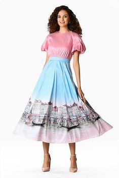 Colorblock landscape print dupioni balloon sleeve dress #eShakti