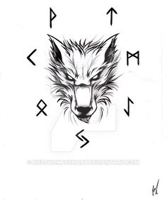 Fenrir tattoo design. Please ask me if you would like to use this.