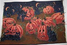 halloween fabric with black cats | Halloween Black Cats & Pumpkin Jack O Lanterns Tapestry Pillow Top ...