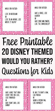 These printable Disney themed Would You Rather questions for kids make a fun family game to play during dinner, a road trip, or a classroom icebreaker. Disney Themed Games, Disney Activities, Activities For Kids, Disney Games For Kids, Icebreaker Games For Kids, Printable Games For Kids, Free Printable, Funny Would You Rather, Would You Rather Questions