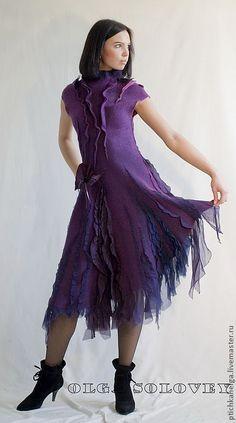 Купить платье VIOLET - тёмно-фиолетовый, нуно-фелтинг, авторская ручная работа, модное платье