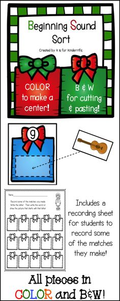 Christmas Beginning Sounds Sort!  A fun way to practice recognizing letters and their sounds.  Students will match picture cards to the present that has the correct letter on it.  All pieces are included in color and B&W to save ink!  Includes a recording sheet as well! $3.00