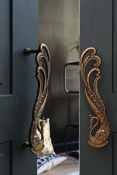 Set of 2 Art Deco Brass Swan Door Handles from Rockett St George Rockett St George
