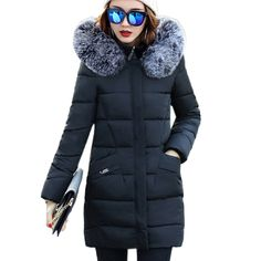 $50.98 - Cool Fur collar Hooded Cotton Padded Coat Large size Winter Women parka New 2017 Long section Slim Outerwear Thicker warm overcoatXC7 - Buy it Now!
