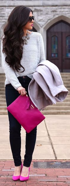 Gray sweater, black jeans, fuchsia bag  flats, statement necklace