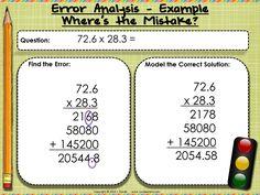 Error Analysis Template - free editable template for error analysis or number talks