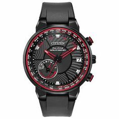 From the Citizen Eco-Drive® Satellite Wave GPS freedom collection, this men's watch features a black dial with red accents, date display, day sub-dial. - Men& Citizen Eco-Drive® Satellite Wave GPS Freedom Black IP Strap Watch with Black Dial (Model: Watch Companies, Watch Brands, Sport Watches, Watches For Men, Citizen Watches, Men's Watches, Luxury Watches, Dress Watches, Jewelry Watches