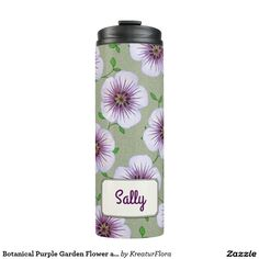 Botanical Purple Garden Flower any Name Thermal Tumbler