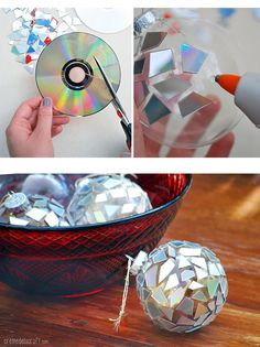 Christmas DIY CD Ornaments       I am going to do this with a bisque gazing ball.
