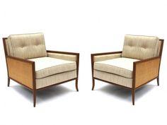 Paire de fauteuils Lounge cannés