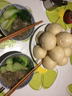 glass noodles and steam bun