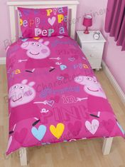 Peppa Pig PRETTY PINK Cotton Blend Single Doona Quilt Cover Set. Great gift for peppa fans